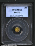 California Fractional Gold: , 1871 25C Liberty Round 25 Cents, BG-838, R.4, MS61 PCGS. R...
