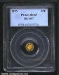 California Fractional Gold: , 1875 25C Indian Round 25 Cents, BG-847, R.5, MS65 PCGS. A ...