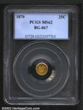 California Fractional Gold: , 1870 25C Liberty Round 25 Cents, BG-867, R.5, MS62 PCGS. T...