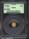 California Fractional Gold: , 1872/1 25C Indian Round 25 Cents, BG-868, R.5, MS64 PCGS. ...