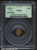 California Fractional Gold: , 1874 25C Indian Round 25 Cents, BG-888, R.6, MS63 PCGS. T...