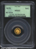 California Fractional Gold: , 1875 50C Indian Octagonal 50 Cents, BG-934, R.6, MS63 PCGS....
