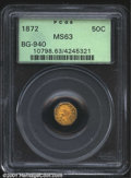 California Fractional Gold: , 1872 50C Indian Octagonal 50 Cents, BG-940, R.5, MS63 PCGS....