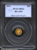 California Fractional Gold: , 1875 50C Liberty Round 50 Cents, BG-1035, R.7, MS62 PCGS. ...
