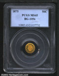 California Fractional Gold: , 1875 50C Indian Round 50 Cents, BG-1056, R.6, MS65 PCGS. A...