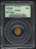 California Fractional Gold: , 1876/5 50C Indian Round 50 Cents, BG-1059, R.5, MS63 PCGS....