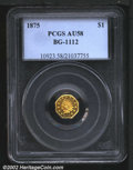 California Fractional Gold: , 1875 $1 Indian Octagonal 1 Dollar, BG-1112, R.6, AU58 PCGS....
