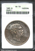 Coins of Hawaii: , 1883 $1 Hawaii Dollar AU50 ANACS. Lavender and russet patina ...