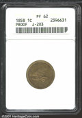 1858 P1C Flying Eagle Cent, Judd-203, Pollock-247, R.5, PR62 ANACS. The obverse has a hook-necked eagle flying left with...
