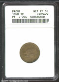 1858 P1C Flying Eagle Cent, Judd-204, Pollock-248, R.5--Scratched--ANACS. Proof, Net PR50. Flying Eagle pattern with a h...
