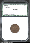 Additional Certified Coins: , 1857 Flying Eagle Cent MS64 PCI (MS62 Obverse Planchet Flaw)....