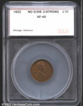 Additional Certified Coins: , 1922 No D 1C Strong Reverse Cent XF40 SEGS (VF30 Reverse Sp...