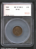 Additional Certified Coins: , 1922 No D 1C Cent Strong Reverse XF40 SEGS (VF30). A well...