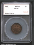 Additional Certified Coins: , 1864 2C Two Cents Large Motto MS65 Brown SEGS (MS63 Brown)....