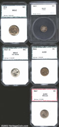 Additional Certified Coins: , 1862/1 3CS Three Cent Silver MS63 SEGS (MS60 Cleaned); 1865 Th...