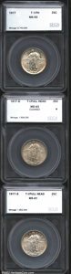 Additional Certified Coins: , 1917 25C Type One Quarter MS63 Full Head SEGS (AU58); 1917-D T...