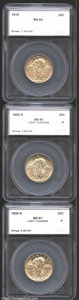 Additional Certified Coins: , 1919 Quarter MS63 SEGS (MS60 Reverse Scratch), typically struck...