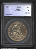Additional Certified Coins: , 1867 $1 Silver Dollar PR61 SEGS (PR61 Harshly Cleaned). B...