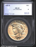 Additional Certified Coins: , 1934-S $1 Silver Dollar MS63 Light Hairlines (MS60 Lightly ...
