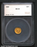 Additional Certified Coins: , 1850 $1 Gold Dollar MS63 SEGS (MS62). Boldly struck in a...