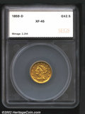 Additional Certified Coins: , 1859-D $2 1/2 Quarter Eagle XF45 SEGS (XF40 Light Hairlines)...