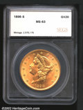 Additional Certified Coins: , 1898-S $20 Double Eagle MS63 SEGS (MS60 Spots Removed). S...