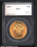 Additional Certified Coins: , 1898-S $20 Double Eagle MS63 SEGS (MS60 Spots Removed). A...