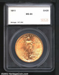 Additional Certified Coins: , 1911 $20 Double Eagle MS64 SEGS (AU58). Bright and satiny...