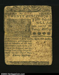 Colonial Notes:Delaware, Delaware May 1, 1758 20s Fine-Very Fine. But for edge split...