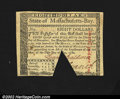 Colonial Notes:Massachusetts, Massachusetts May 5, 1780 $8 Choice New. A crosscut cancel ...