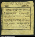 Colonial Notes:Pennsylvania, Pennsylvania Interest Bearing Certificate 1780 Extremely Fine...
