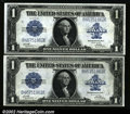 Fr. 239 $1 1923 Silver Certificates Consecutive Pair Very Choice New. This Consecutive Pair would grade Gem were it not...