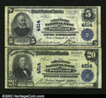 National Bank Notes:Oregon, Portland, OR - $5, $20 1902 Plain Back Fr. 601, 653 The U...