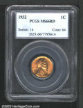 Lincoln Cents: , 1932 1C MS66 Red PCGS. Mintage: 9,062,000. ...
