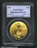 High Relief Double Eagles: , 1907 $20 High Relief, Flat Rim MS62 PCGS. The latest Coin Wor...
