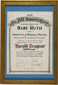Autographs:Others, 1926 Pie Traynor All America Team Certificate Signed by Babe Ruth. Could there be any greater honor for a Golden Age ballpl...
