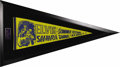 "Music Memorabilia:Memorabilia, Elvis Presley Sahara Tahoe Pennant in Unique Triangle Frame (1971). A blue and yellow 29"" x 12"" felt pennant advertising Elv..."