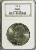 Eisenhower Dollars: , 1971 $1 MS66 NGC. NGC Census: (24/0). Mintage: 47,799,000. Numismedia Wsl. Price for NGC/PCGS coin i...