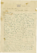Autographs:Letters, 1942 Ty Cobb Handwritten Signed Letter. The greatest diamond starof the twentieth century's first two decades pens a three...