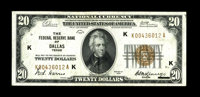 Fr. 1870-K $20 1929 Federal Reserve Bank Note. About Uncirculated. A totally original example, with great embossing in w...
