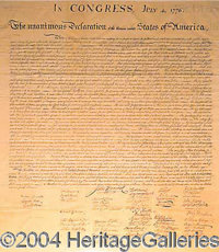 The Declaration of Independence - Noted engraver, William J. Stone, was commissioned to use a new Wet-Ink transfer proce...
