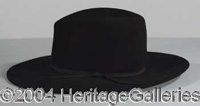 """Val Kilmer - Original black Stetson hat worn by Kilmer in the western classic """"Tombstone"""". Accompanied by a le..."""
