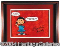 "Charles Schulz - Impressive 17 x 14 display featuring an image of the beloved Peanuts character ""Lucy"". Boldly..."