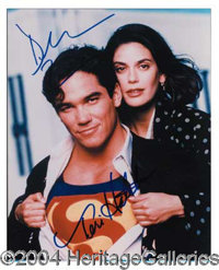 Superman - Nice 8 x 10 color photo signed by the stars of the hit television show--Dean Cain and Teri Hatcher--in blue p...