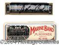 Autographs, Johnny Cash Stage Used and Signed Harmonica