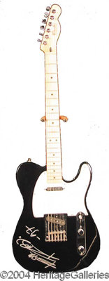 Keith Richards - Gorgeous polished black Fender Telecaster boldly signed by the legendary rock guitarist on the body in...