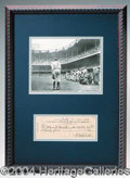 Autographs, Historic Babe Ruth Photo and Signed Check