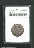 Standing Liberty Quarters: , 1917 25C Type One AU55 ANACS. Mintage: 8,740,000. ...