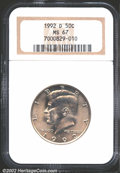 """Kennedy Half Dollars: , 1992-D 50C MS67 NGC. The latest Coin World """"Trends"""" price is ..."""