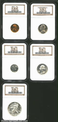 Proof Sets: , 1942 Proof Set NGC. The Cent is PR64 Red and Brown; the Typ...